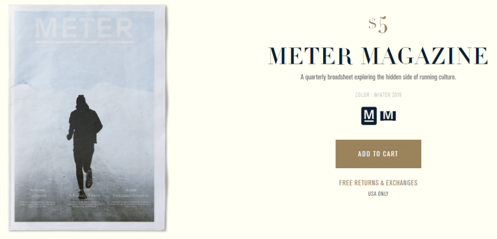 Meter, marketing de contenido de Tracksmith