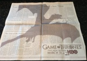 Anuncio game of thrones NY times